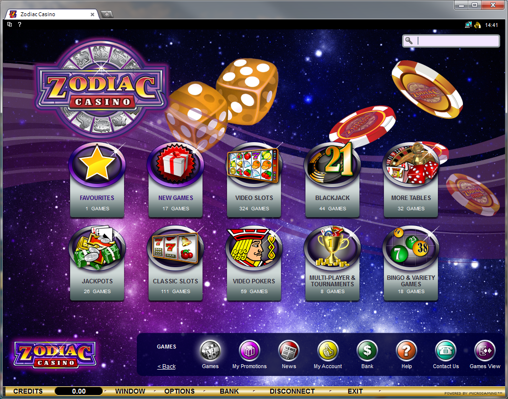 Zodiac Casino lobby screenshot
